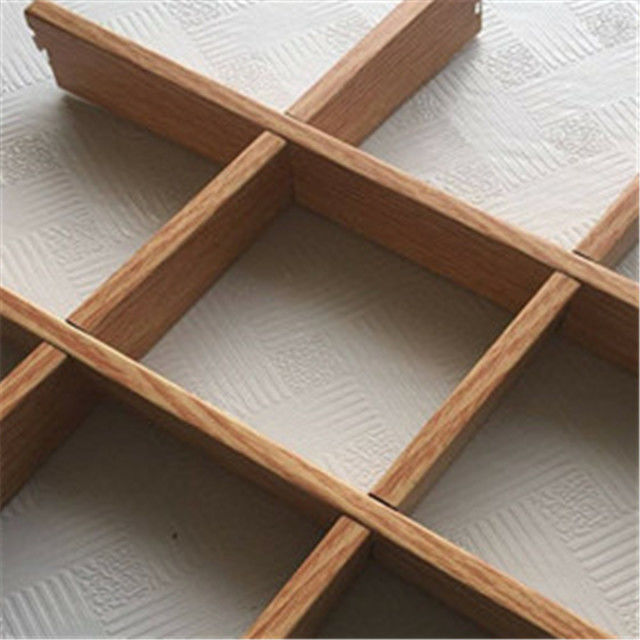 Grid Shape Wooden Finishing Aluminum Veneer Panel For Interior Decoration